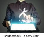 image of a girl with tablet in... | Shutterstock . vector #552926284