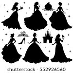Set of silhouettes of princess. Isolated on white.