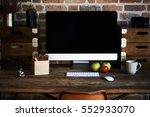 desktop in modern loft interior ... | Shutterstock . vector #552933070