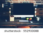 Desktop In Modern Loft Interio...