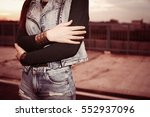 body part of woman with crossed ...   Shutterstock . vector #552937096