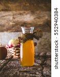 apple vinegar. bottle of apple... | Shutterstock . vector #552940384