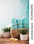 spa and wellness setting with... | Shutterstock . vector #552940390