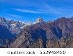 Small photo of Kamet highest peak of Zanskar range from Auli, Uttrakhand, India.