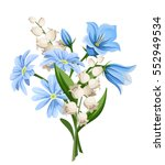 Stock vector vector blue and white spring flowers bouquet isolated on a white background 552949534