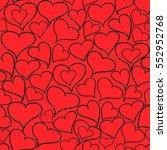 doodle hearts seamless pattern. ... | Shutterstock .eps vector #552952768