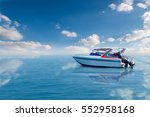 Small photo of Boat speed boat on the sea with beautiful bright sky.