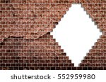 hole in a old brick wall... | Shutterstock . vector #552959980