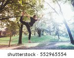 woman balancing a tightrope or... | Shutterstock . vector #552965554