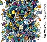 cartoon hand drawn doodles... | Shutterstock .eps vector #552989494