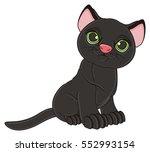 Stock photo black cat sit 552993154