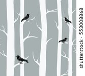 winter trees with black crows.... | Shutterstock .eps vector #553008868