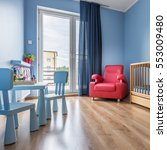 simple blue baby room with cot  ... | Shutterstock . vector #553009480