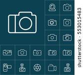 thin line camera icon on blue...