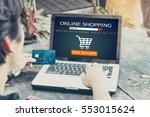 online shopping concept.man...   Shutterstock . vector #553015624