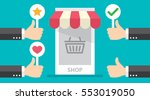business hand thumb up with... | Shutterstock .eps vector #553019050