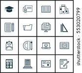 set of 16 school icons.... | Shutterstock .eps vector #553020799