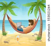 man lying in the hammock on the ... | Shutterstock .eps vector #553021264