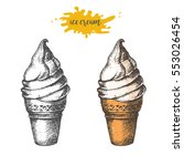 hand drawn ice cream isolated... | Shutterstock .eps vector #553026454