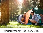 young campers setting up the... | Shutterstock . vector #553027048