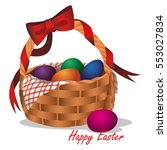 easter basket with colored eggs | Shutterstock .eps vector #553027834