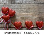 valentine's day. red hearts on... | Shutterstock . vector #553032778