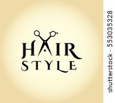 hair salon logo with scissors.... | Shutterstock .eps vector #553035328