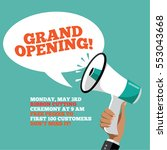 grand opening megaphone... | Shutterstock .eps vector #553043668