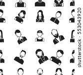 avatar pattern icons in black... | Shutterstock .eps vector #553043920