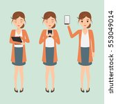 woman character using a mobile... | Shutterstock .eps vector #553049014