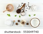 homemade coconut products on... | Shutterstock . vector #553049740