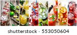 food collage of fresh cocktails ... | Shutterstock . vector #553050604