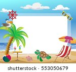 photo frame  beach  palm tree ... | Shutterstock .eps vector #553050679