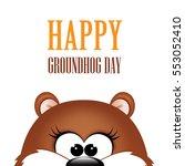 groundhog day. marmot on white... | Shutterstock .eps vector #553052410