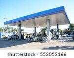 blurred image of gas station. | Shutterstock . vector #553053166