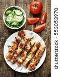 bbq  chicken kebab and...   Shutterstock . vector #553053970
