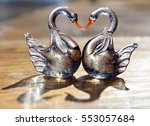 Two Glass Swans With Necks...