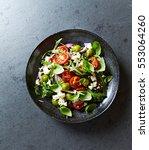 mediterranean style salad with... | Shutterstock . vector #553064260