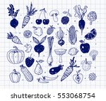doodle fruits and vegetables.... | Shutterstock .eps vector #553068754