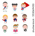 super hero kids with costumes... | Shutterstock .eps vector #553069450