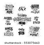 Happy valentines day, hand drawn text. Typography elements on white background. Vector photo overlays, Black and white