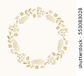 gold floral round frame. vector.... | Shutterstock .eps vector #553083028