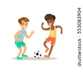 boys playing football kid... | Shutterstock .eps vector #553083904