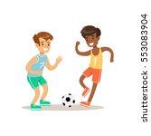 boys playing football kid... | Shutterstock .eps vector #553083904