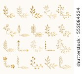 set of golden floral corners.... | Shutterstock .eps vector #553084324