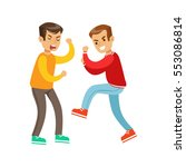 two screaming boys fist fight... | Shutterstock .eps vector #553086814