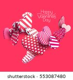 3d red hearts. abstract vector... | Shutterstock .eps vector #553087480