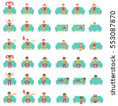 set icon hipster man with... | Shutterstock .eps vector #553087870