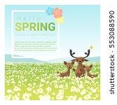 hello spring landscape... | Shutterstock .eps vector #553088590