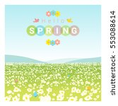 hello spring landscape... | Shutterstock .eps vector #553088614